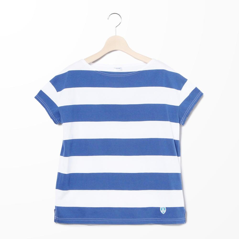 【OUTLET】ルーズボートネックTシャツ(6.5cmボーダー) WOMEN