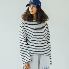 マーセライズコットン長袖Tシャツ STRIPE WOMEN