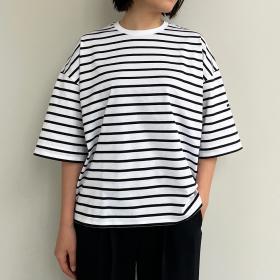 マーセライズコットン ハーフスリーブTシャツ STRIPE WOMEN