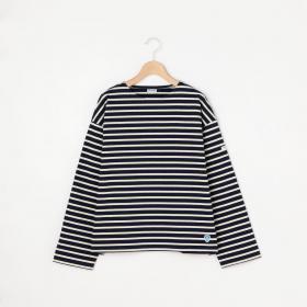 【フェア対象】〈別注〉裏起毛コットンロード クルーネックシャツ STRIPE WOMEN