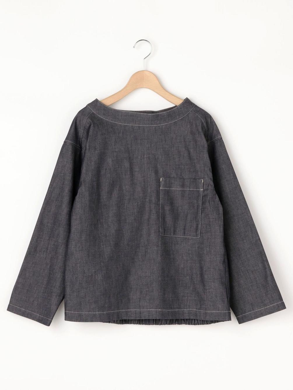 【OUTLET】バックギャザー プルオーバーデニムシャツ WOMEN