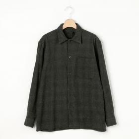 ウールチェックオープンカラーシャツ WOMEN