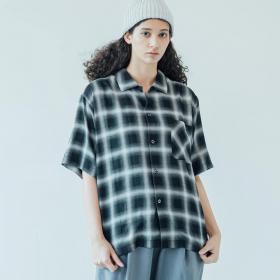 〈別注〉オンブレチェック オープンカラーシャツ WOMEN