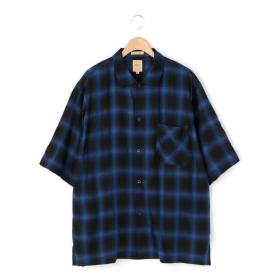 オンブレチェック オープンカラーシャツ MEN