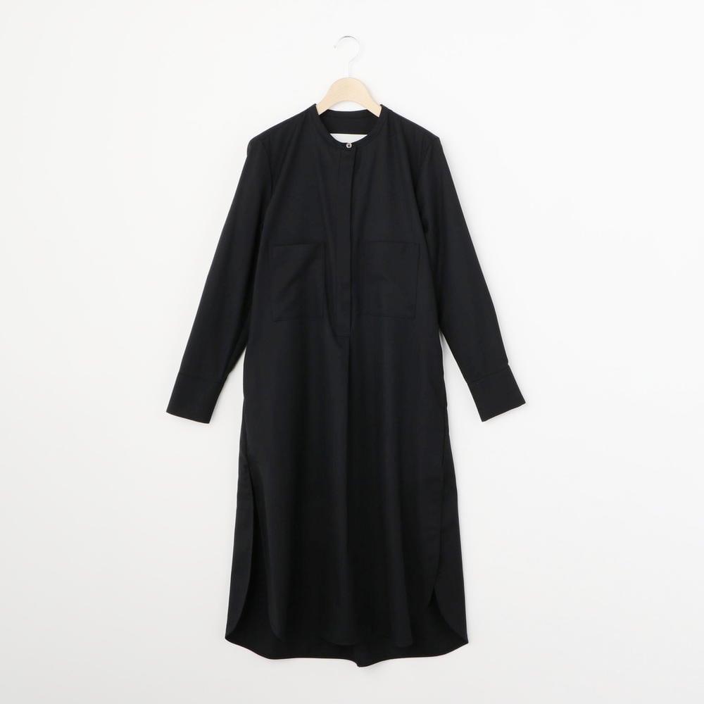 ウール ノーカラーシャツドレス WOMEN