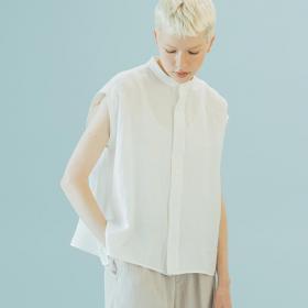 〈別注〉 フレンチスリーブバンドカラーシャツ WOMEN