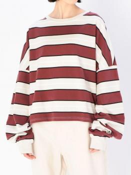 〈別注〉ルーズスウェットシャツ STRIPE WOMEN