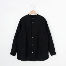 リネンバンドカラーシャツ BLK WOMEN