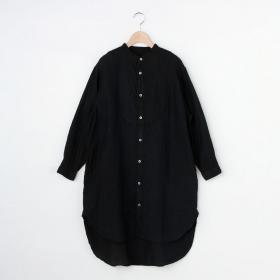 リネンバンドカラービッグシャツ BLK WOMEN