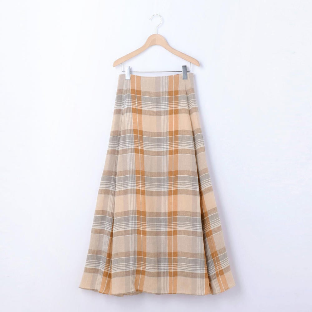 【OUTLET】リネンフレアスカート CHECK WOMEN