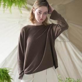 ローシルクリブジャージー ボートネックTシャツ WOMEN