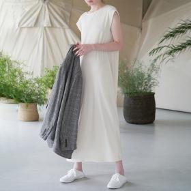 ローシルクリブジャージー スリーブレスドレス WOMEN