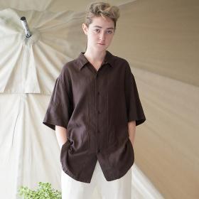 コットンシルクツイル オープンカラーシャツ WOMEN