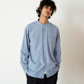 コットンポプリン バンドカラーシャツ MEN