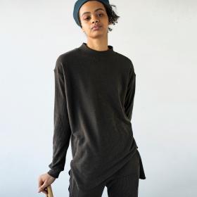 ローシルクリブジャージー モックネックTシャツ WOMEN