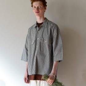 【先行予約】コットンギンガム 開襟ワークシャツ MEN