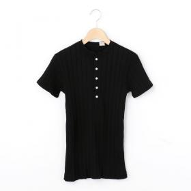 ブロードリブ ヘンリーネックTシャツ WOMEN